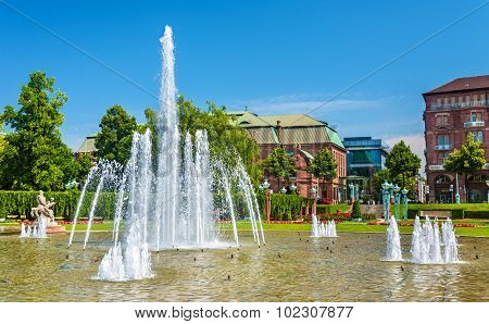 Wasserspiele Fountain On Friedrichsplatz Square In Mannheim - Germany