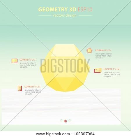 Sphere Geometry Abstract 3D Infographic And Icons Design White Color Style.