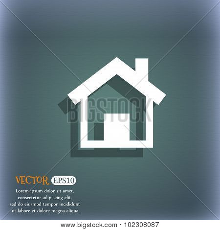 Home Sign Icon. Main Page Button. Navigation Symbol. On The Blue-green Abstract Background With Shad