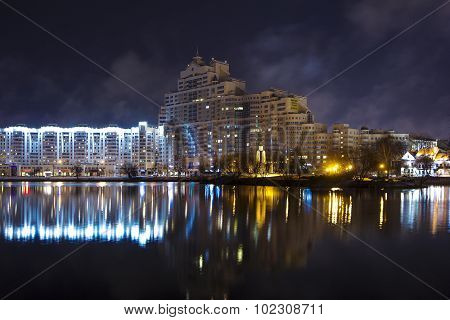 Building near river Minsk night