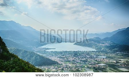 Mountaintop View Over An Alpine Lake
