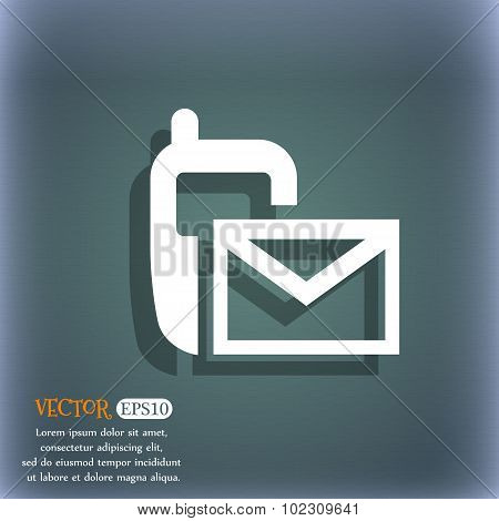 Mail Icon. Envelope Symbol. Message Sms Sign. On The Blue-green Abstract Background With Shadow And