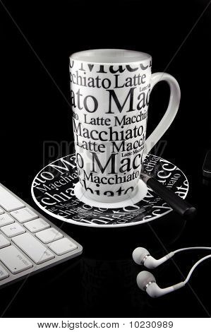 Coffee Mug Over Black Background