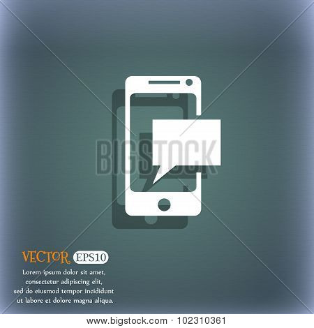 Message Sms Sign. Mails Navigation Button. On The Blue-green Abstract Background With Shadow And Spa