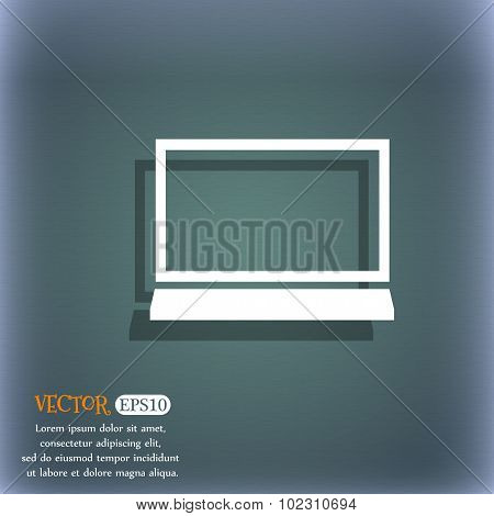 Computer Widescreen Monitor Sign Icon. On The Blue-green Abstract Background With Shadow And Space F