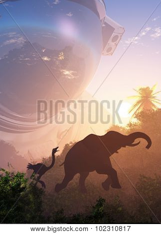 Elephant and ostrich on the background of an astronaut.