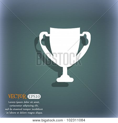 Winner Cup Sign Icon. Awarding Of Winners Symbol. Trophy. On The Blue-green Abstract Background With