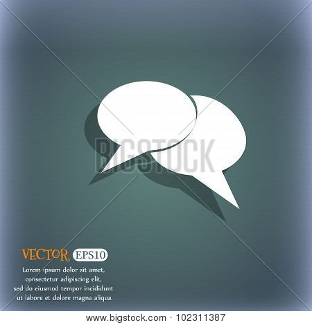 Speech Bubble Icons. Think Cloud Symbols. On The Blue-green Abstract Background With Shadow And Spac
