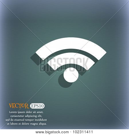 Wifi Sign. Wi-fi Symbol. Wireless Network Icon. Wifi Zone. On The Blue-green Abstract Background Wit