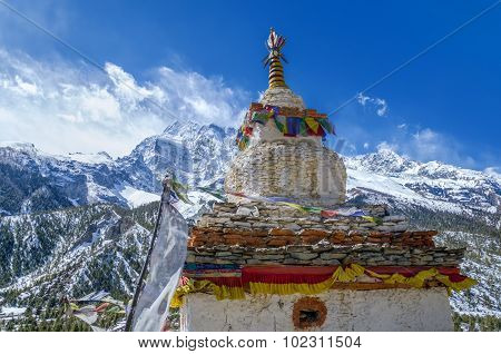 Buddhist Stupa With The Annapurna Iii