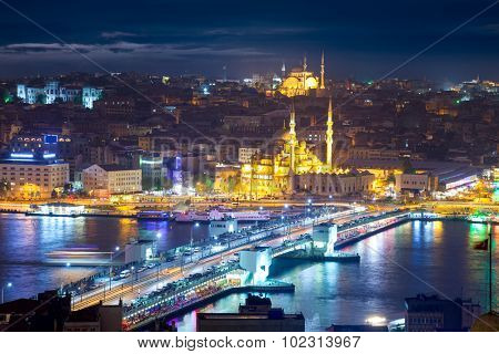 Night life in Istanbul, Panorama of the famous places of city with colorful illumination, Turkey