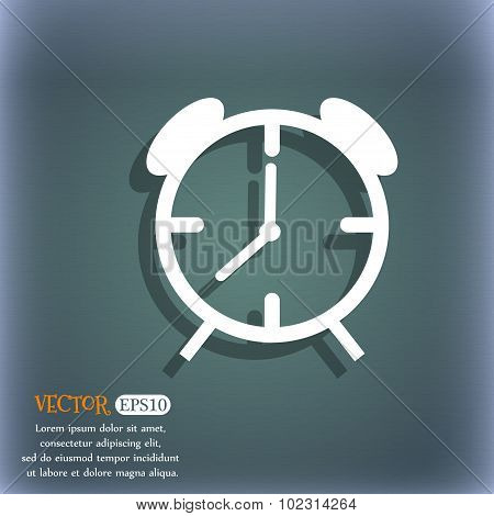 Alarm Clock Sign Icon. Wake Up Alarm Symbol. On The Blue-green Abstract Background With Shadow And S