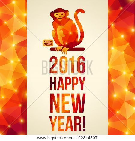 Happy Chinese New Year 2016 Greeting Card. Year of the Monkey.