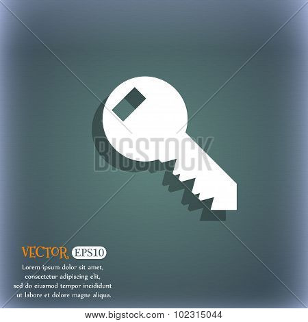 Key Sign Icon. Unlock Tool Symbol.. On The Blue-green Abstract Background With Shadow And Space For