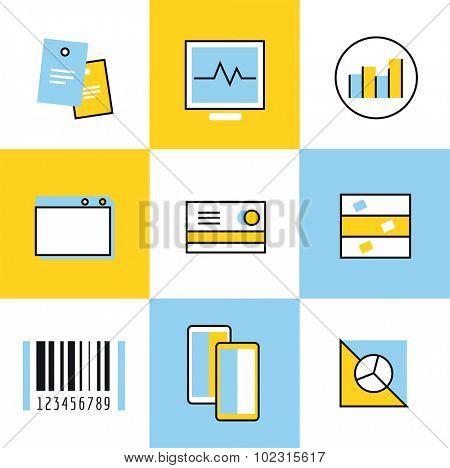 Communication vector icons set. Communication sign and communication symbols. Business icons - computer, mobile phone and calcalator, money, finance, safe, credit card, barcode, chart