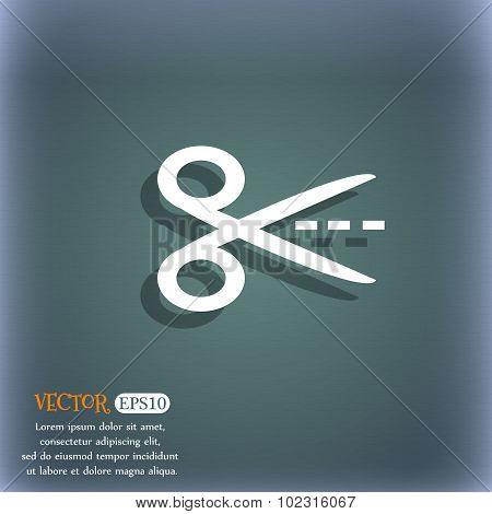 Scissors With Cut Dash Dotted Line Sign Icon. Tailor Symbol. On The Blue-green Abstract Background W