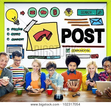 Post Blog Social Media Share Online Communication Concept