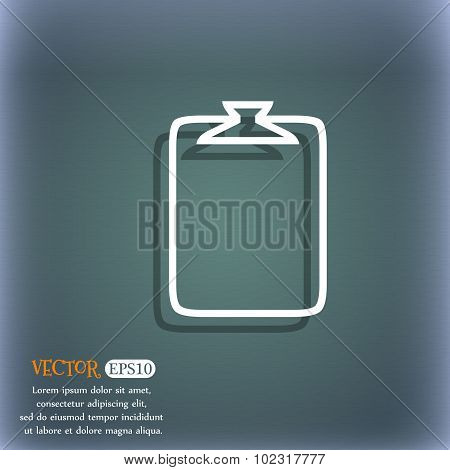 File Annex Icon. Paper Clip Symbol. Attach Sign. On The Blue-green Abstract Background With Shadow A