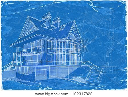 Architecture blueprint 3d house vector illustration eps10 architecture blueprint 3d house vector illustration eps10 poster malvernweather Choice Image
