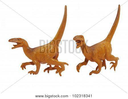 Isolated Raptor dinosaur toy photo.