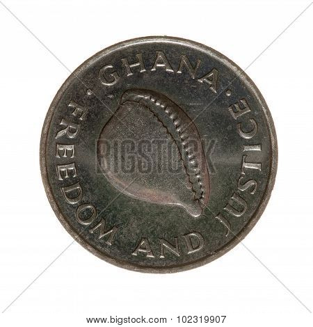 Ghana Cedi Coin Twenty Isolated On A White Background. Top View