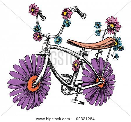 Bike with flowers cute design element for different events