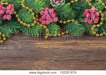 Christmas Fir Tree With Decoration Wooden Background