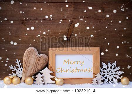 Golden Decoration, Snow, Merry Christmas, Snowflakes