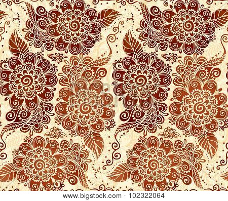 Floral seamless pattern in Indian mehndi style