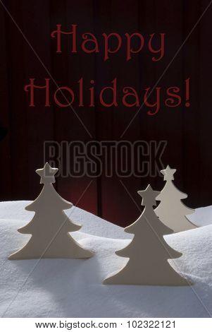 Three White Christmas Trees, Snow, Happy Holidays