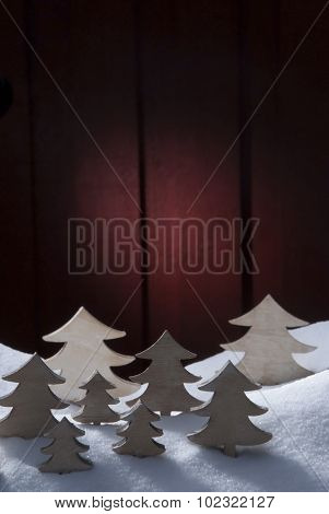 Four White Wooden Christmas Trees, Snow