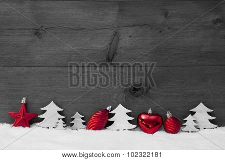 Red, Gray Christmas Decoration, Snow, Copy Space, Ball, Tree