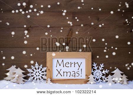 White Christmas Decoration Text Merry Xmas, Snow, Snowflakes