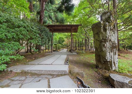 Stone Path In Japanese Garden