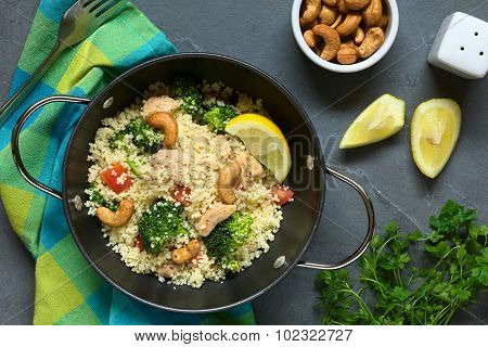 Couscous with Chicken Broccoli Tomato Cashew Nuts