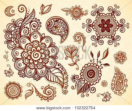 Indian mehndi tattoo style floral ornaments set