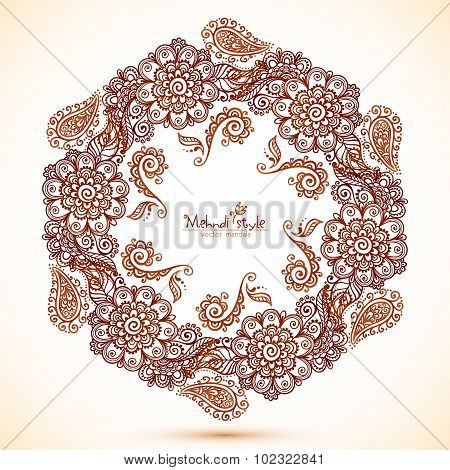 Vector hexagonal frame in Indian mehndi style