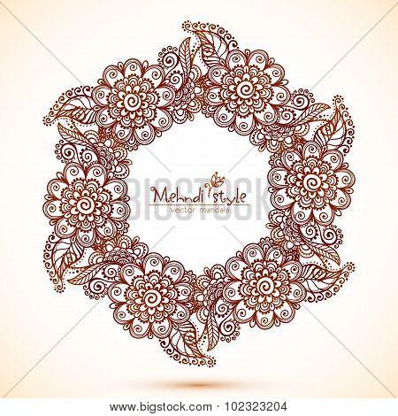 Vector hexagonal frame in Indian mehndi style
