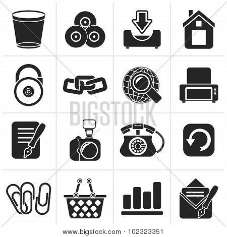 Black Website and internet icons