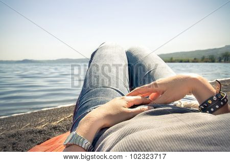 Relax Lying By The Lake
