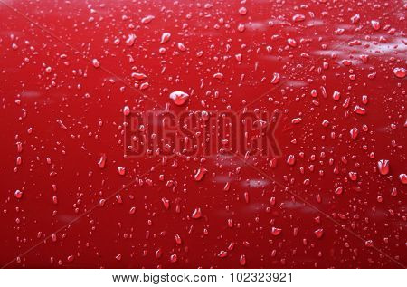 Drops on metal surface after anti rain car protection coating