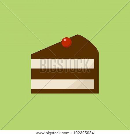 Chocolate cake slice icon, modern flat design style. Cheesecake vector illustration