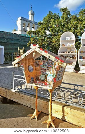 Shopping Tray In Form Of Hut On Chicken Legs Selling Souvenirs In Veliky Novgorod, Russia