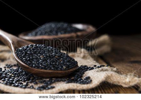 Portion Of Black Lentils