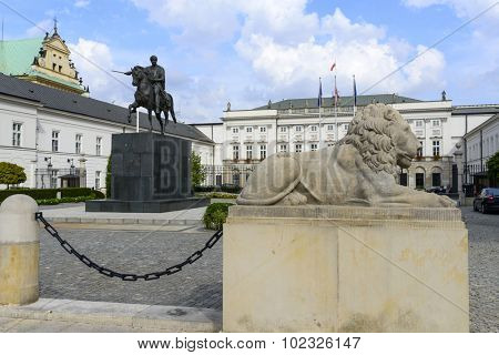 WARSAW, POLAND - SEPTEMBER 16, 2015: Bertel Thorvaldsen's equestrian statue of Prince Jozef Poniatowski before Presidential Palace on 16 September 2015 in Warsaw, Poland.