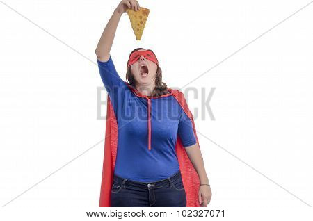 Wwoman Superhero Eating A Piece Of Pizza With A Red Cape