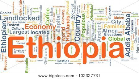 Background concept wordcloud illustration of Ethiopia