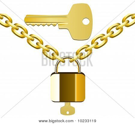 golden chain, lock and key