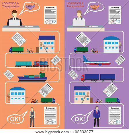 Logistics And Transportation Concept Flat Illustration.