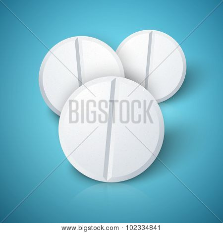 Set of Photorealistic Medicine Pill. Pharmacy Advertizing, Vecto